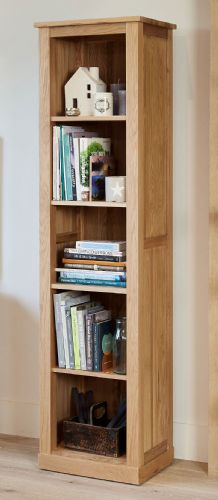 Mobel Oak Tall Narrow Bookcase